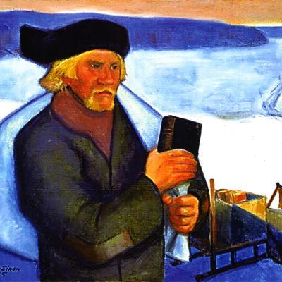mies reppu selässä, kirja kädessä vesikelkan vieressä