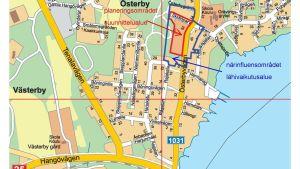 En karta över området kring Österby föreningshus.