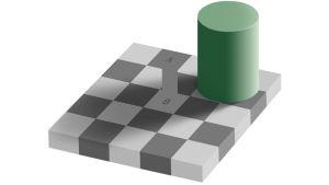 Ratkaisu Edward Adelsonin kehittämään illuusioon, jossa lieriö heittää varjon ruudukon päälle.
