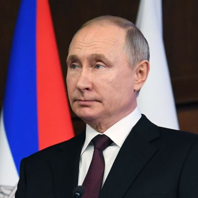 Rysslands president Vladimir Putin håller tal i Moskva den 21 december 2020.