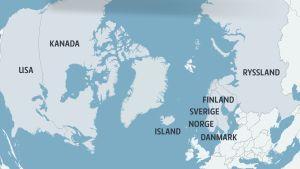 Karta över de arktiska länderna