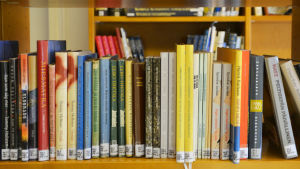 Böcker i bokhylla.