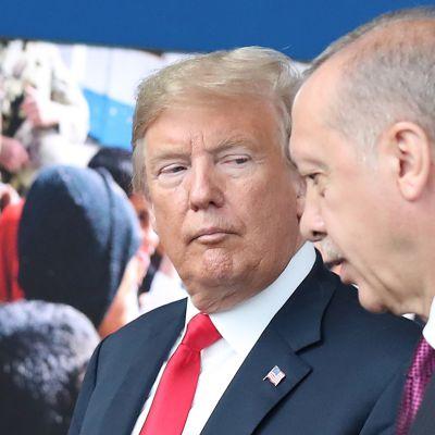 Presidentit Donald Trump ja Recep Tayyip Erdogan kuvattuna Naton päämajassa Brysselissä heinäkuussa 2018.