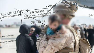 En soldat håller ett afghanskt barn i famnen, i förgrunden en faksimil av en hemligstämplad svensk rapport från försvaret.
