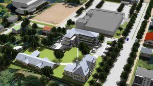 Illustration över ändring av detaljplanen för Evangeliska folkhögskolan i Hangö