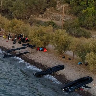 Gummibåtar på Lesbos stränder efter att 13 flyktingbåtar plötsligt kom över sundet från Turkiet.