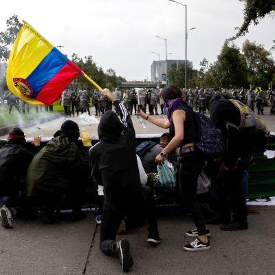 Mielenosoitus Bogotassa, Kolumbiassa 21. marraskuuta.