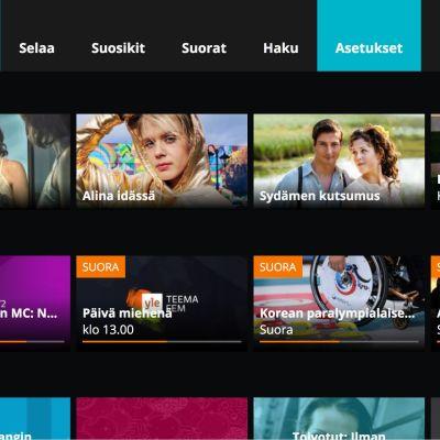 Yle Areenan avausnäkymä äly-tv-laitteessa