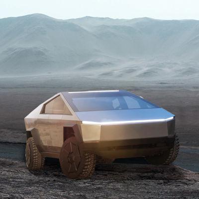 Tältä Tesla Cybertruck voisi näyttää Marsissa (kuvakäsittely).
