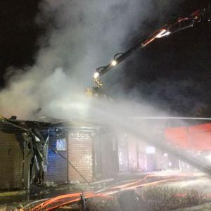 Brand i radhus i Sibbo.