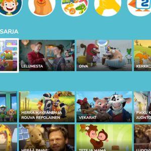 Kuvakaappaus Lasten Areenan HbbTV-palvelusta