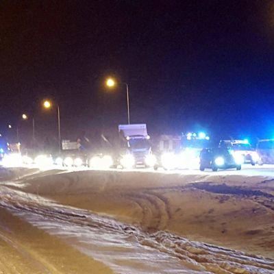 Köbildning vid trafikolycka i Korsholm.