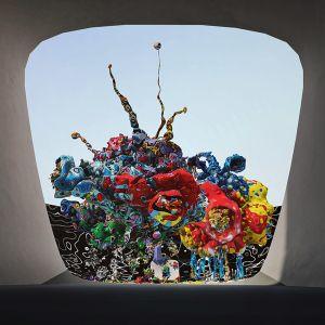 Ett färgglatt konstverk i det virtuella museet Museum of Other Realities.