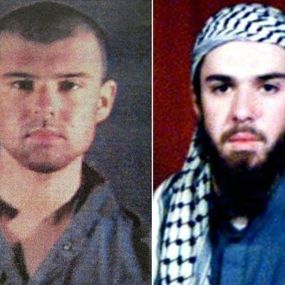 """""""Amerikkalaistaleban"""" John Walker Lindh. Vasemmalla poliisin arkistokuva helmikuulta 2002, oikealla otettu kuva Pakistanissa ennen pidätystään. Lindh pidätettiin marraskuussa 2001."""
