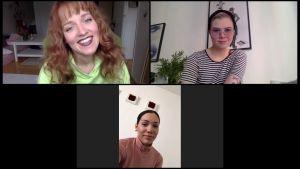 F3M-trio videopuhelusta otetussa kuvankaappauksessa. Vasemmalla ylhäällä Baby O, oikealla Viv ja alhaalla keskellä Miara.
