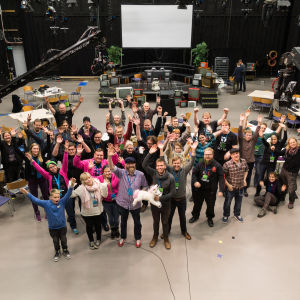 Mediapolis Game Jam 2015 osallistujat tapahtuman jälkeen.