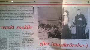 tidningsurklipp från 1985.