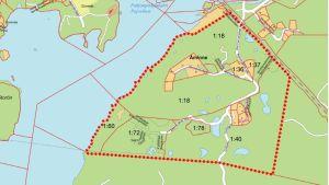 Karta över planläggningsområdet i Nordcenter Pojo.