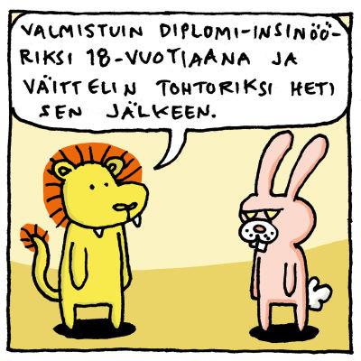 Kuvassa on Joonas Lehtimäen piirtämä sarjakuva siitä, miten osaa vaikka mitä, mutta silti tuntuu, ettei osaa mitään.