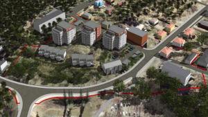 En flygbild där flera nya hus har ritats in, bland annat tre femvåningshus.