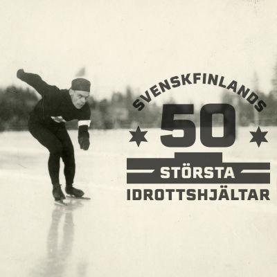 Clas Thunberg i VM i Stockholm 1923, med logon för Svenskfinlands 50 största idrottshjältar.