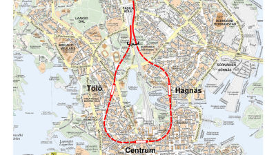 Centrumslingan som den planeras.