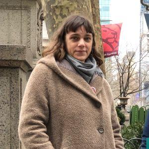 Jenny Brown och Jen Sunderland efter demonstration för gratis hälsovård i New York