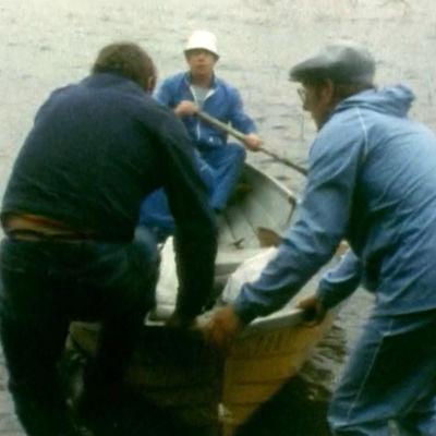 Kolme miestä lähdössä soutuveneellä rannasta.
