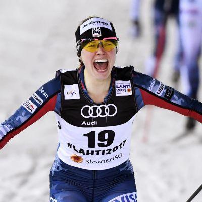 Jessica Diggins tog VM-silver i sprint i Lahtis 2017.
