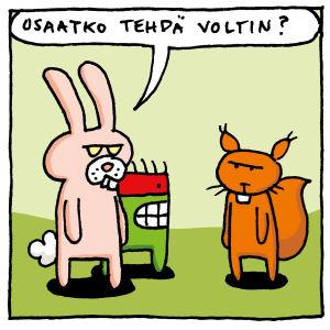 Kuvassa on Joonas Lehtimäen piirtämä sarjakuva siitä, kun tuntuu ettei osaa tehdä volttia, mutta toisen avulla se yllättäen onnistuukin.