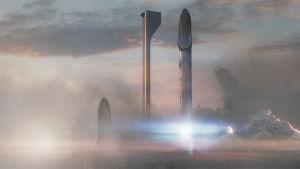 Rymdskepp på väg till Mars.