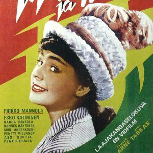 """Juliste elokuvasta """"Tyttö ja hattu"""", jossa Pirkko Mannola esiintyi."""
