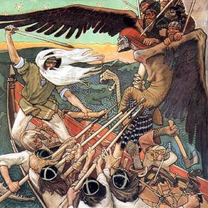 Målning föreställande scen ur Kalevala: Kampen om Sampo.