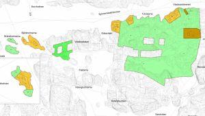 en karta över Wäxär där planer för nya tomter finns utritade