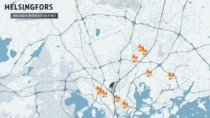 Bränder som polisen misstänker att har anlagts 30.4-10.5 i Helsingfors.