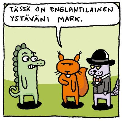 Kuvassa on Joonas Lehtimäen piirtämä sarjakuva siitä, miten vaikeaa on joskus uskaltaa puhua englantia vaikka osaisikin.