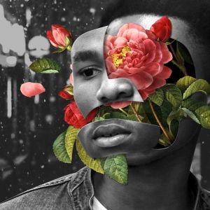 Kuvassa tummaihoisen miehen pää, joka on rikki ja jossa on kukkia. Kuva on ahdistava.