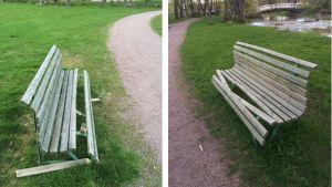 Vandaliserade parkbänkar i Lovisa.