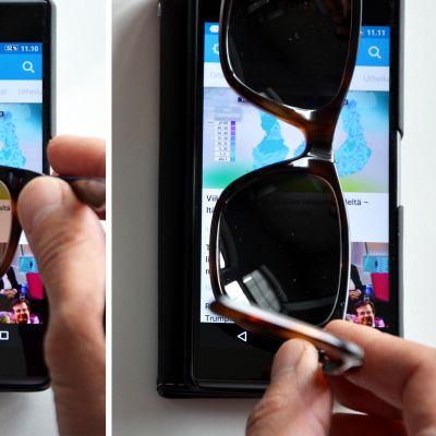 Kuvassa näytetään, miten polarisoivat aurinkolasit toimivat.