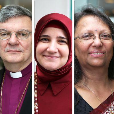 Käsitelty kuva, jossa yhdistetty eri uskontokuntien edustajia.