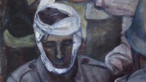 målning av en soldat i grå uniform med förbundet huvud som hålls uppe av en annan soldat med Röda Korset-armbindel