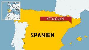 Karta över Spanien.