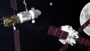 Konstnärens tolkning av Gateway-stationen i omloppsbana runt månen.