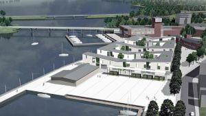 Norra hamnen i Ekenäs så som den enligt planen från 2008 kan se ut i framtiden.