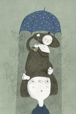 en bild av en flicka med figuren Skuggan på sitt huvud, ur Maija och Anssi Hurmes bok Skuggan.