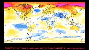 En prognoskarta för temperaturavvikelser under vintern 2019-2020.