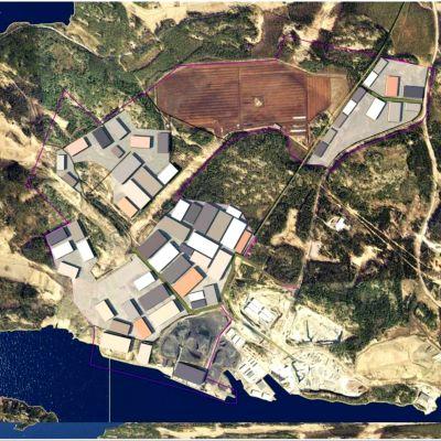 En illustration ur fågelperspektiv över hur Fortums område i Joddböle i Ingå kunde se ut om all den planerade byggrätten används.