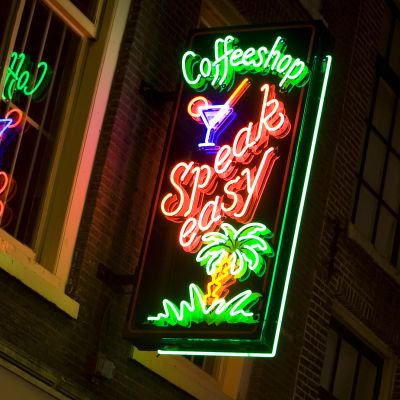 En coffee shop i Amsterdam.