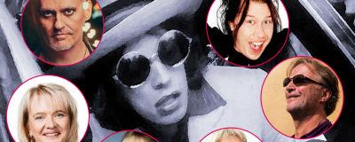 Kollage med Mick Jagger i bil 1970 och bollar med olika muskikredaktörer från Svenska Yle omkring.