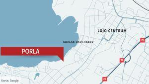 En karta som visar var Porla ligger i Lojo.